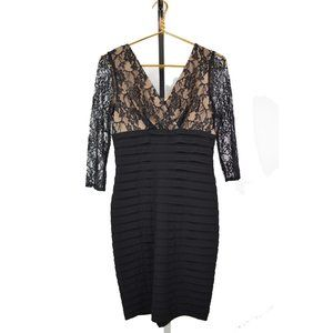 ADRIANNA PAPELL Black Lace Cocktail Sheath Dress 4